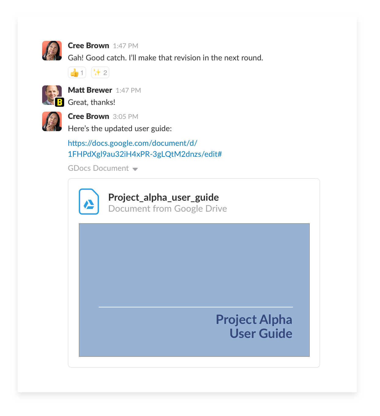 reviewing project documents with external partners in slack