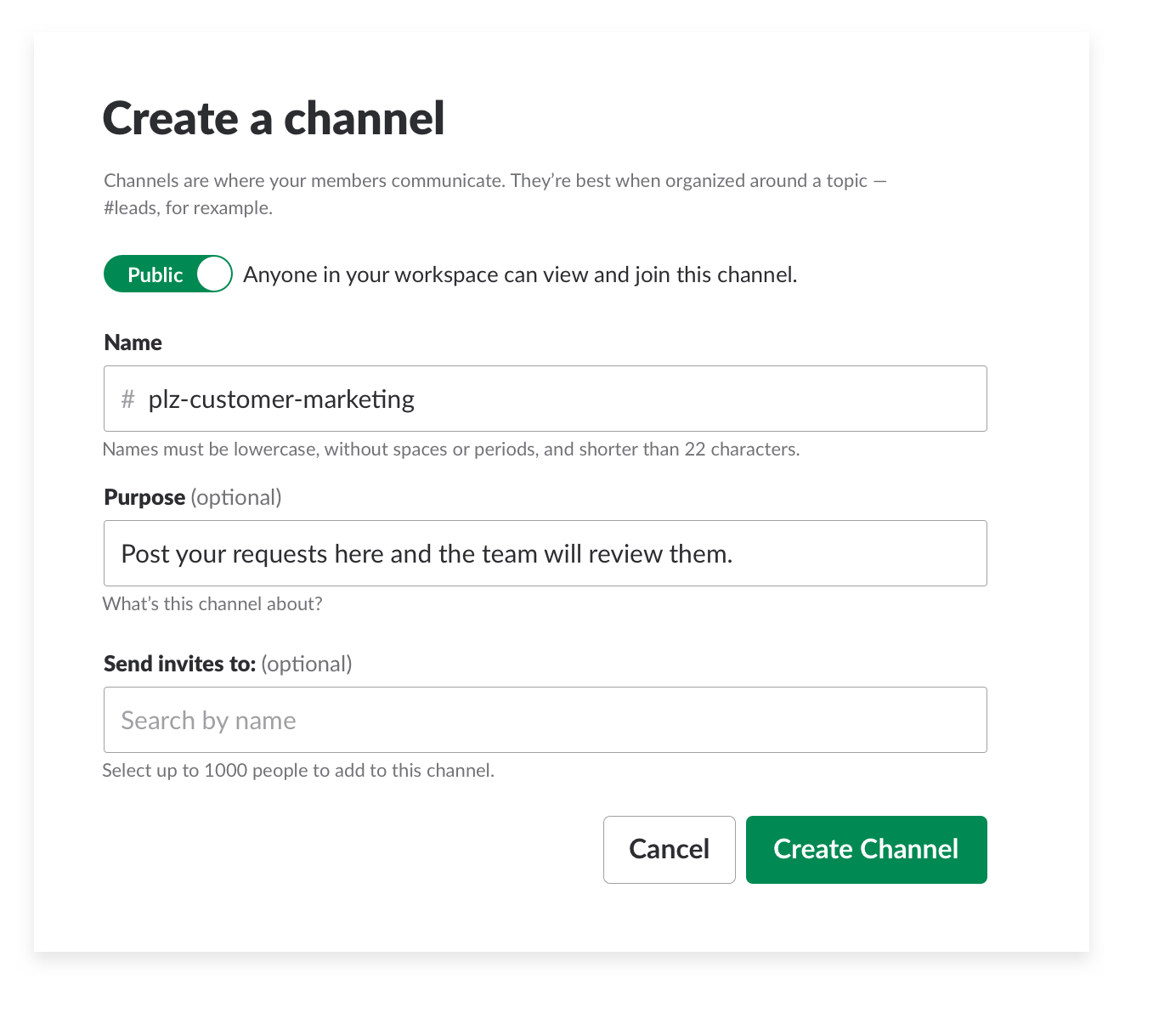 creating a request channel