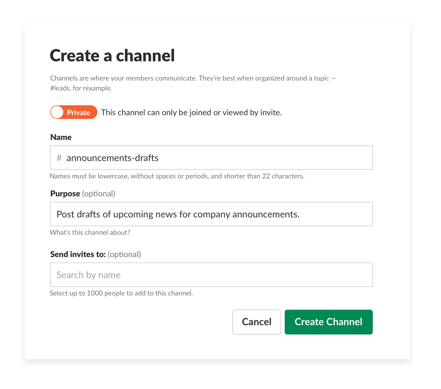 Company-wide announcements in channel