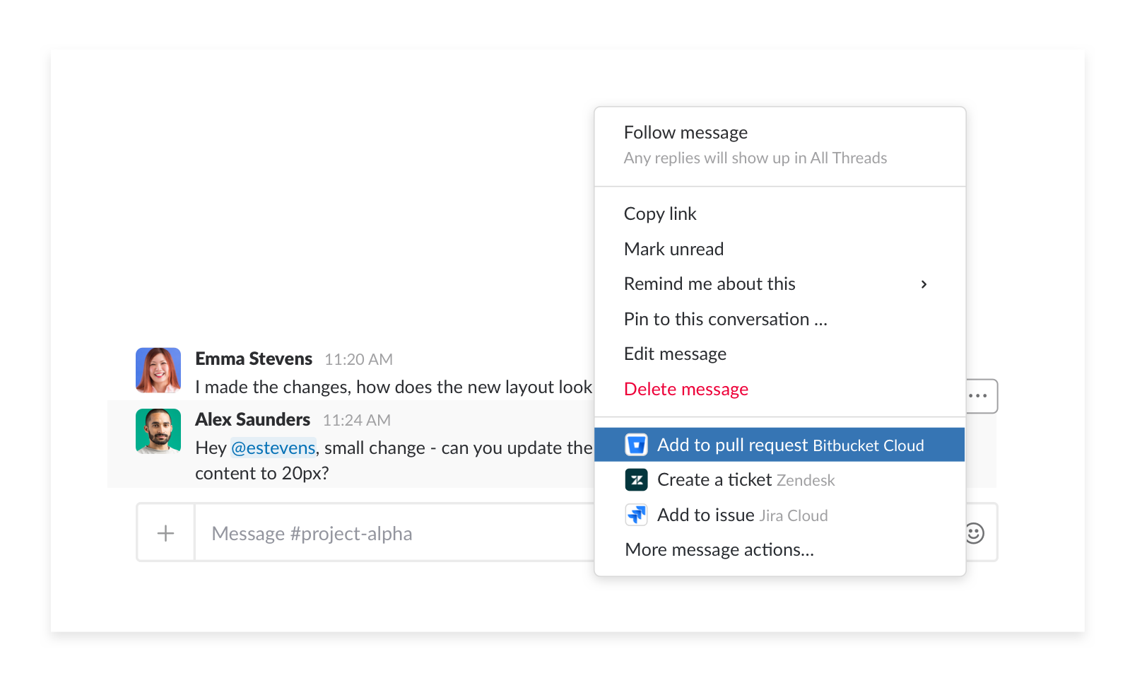 transform a slack message into a comment in bitbucket