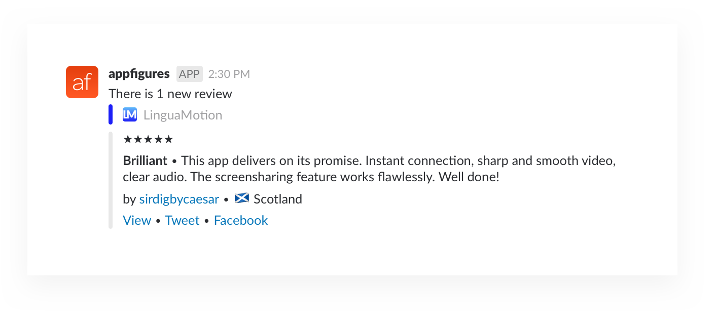 app reviews shared in slack