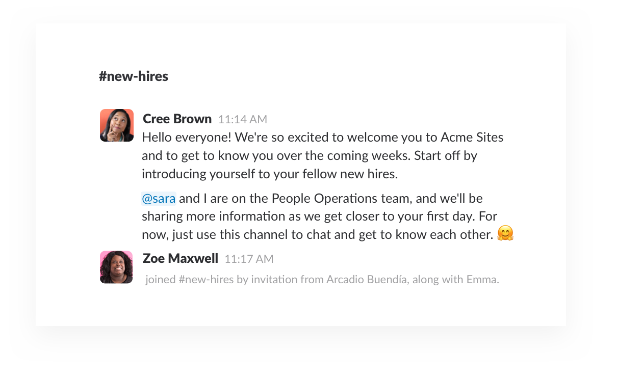 welcome new employees to your company with slack