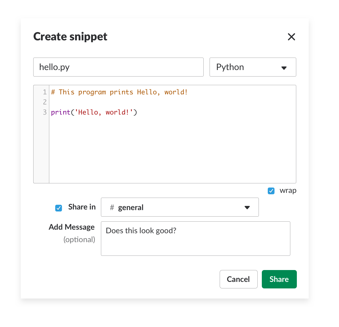 create Python code snippet