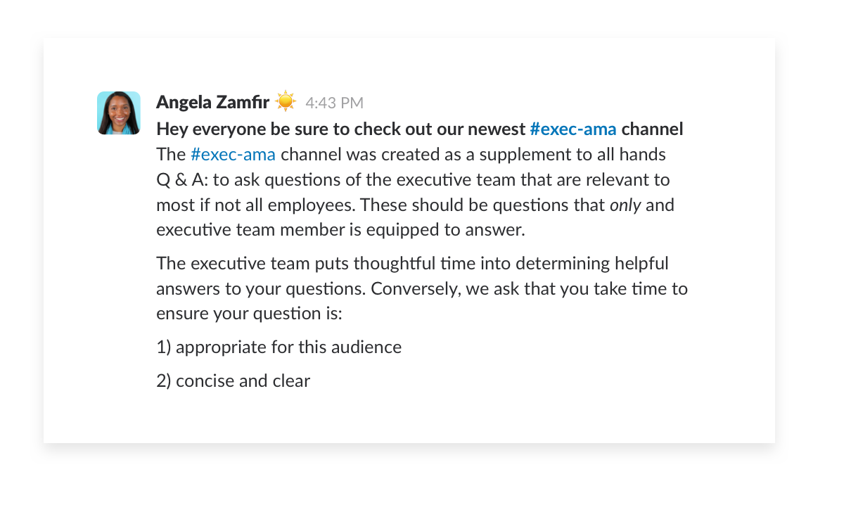 sharing executive AMA channel