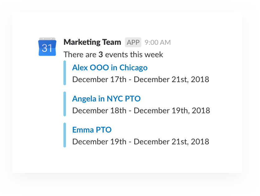 Google Calendar updates for marketing team