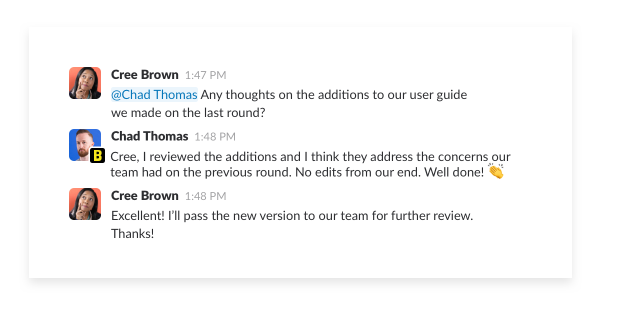 discussions in a shared slack channel