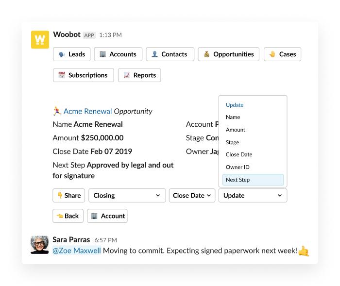 Woobot CRM software integration with Slack