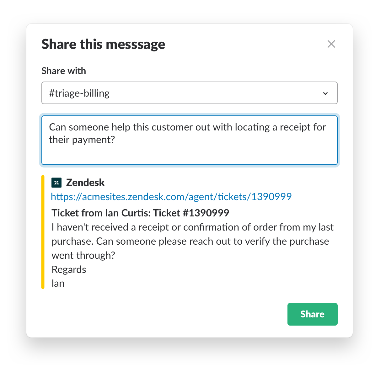 share Zendesk message with subject matter experts