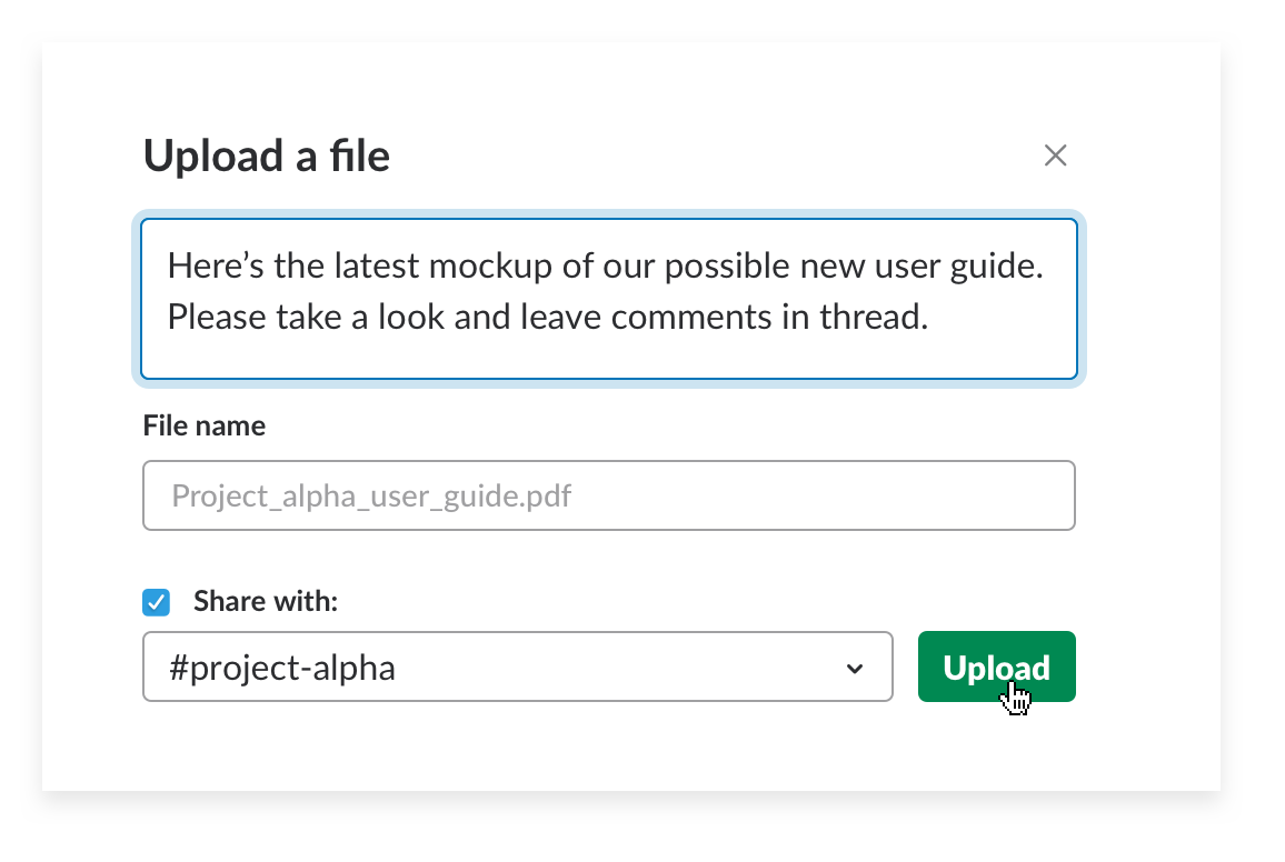 Add a message to a file upload