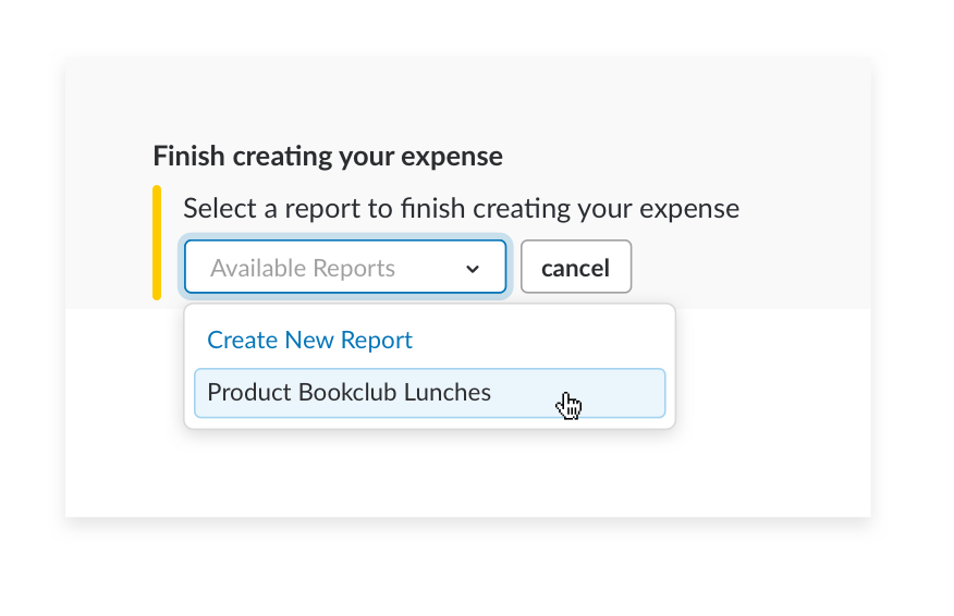 add expense report in channel