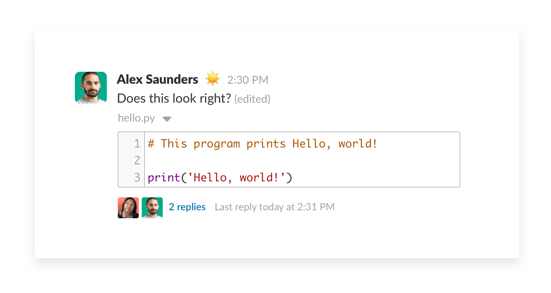 collaborate on code snippets in channel