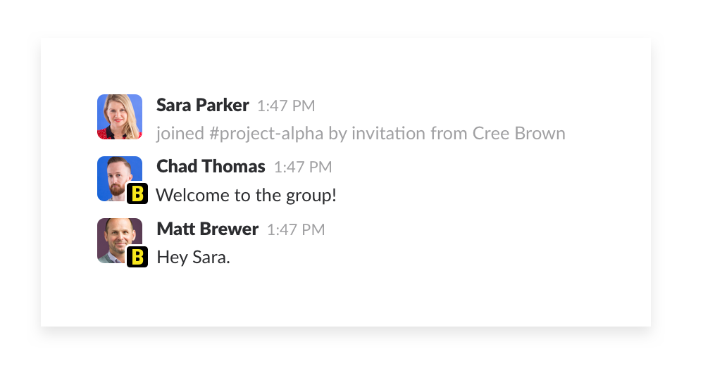 inviting additional people to the shared slack channel