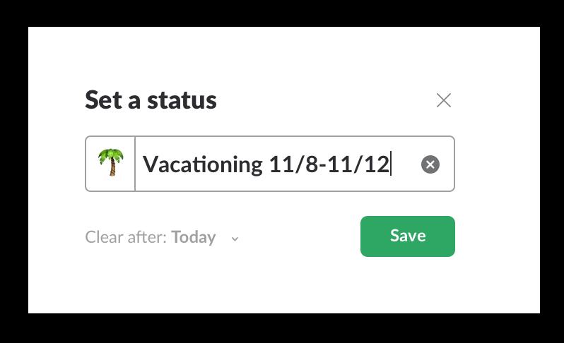 Set work status in Slack