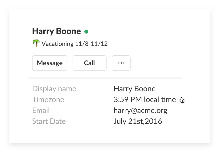 User time zone details