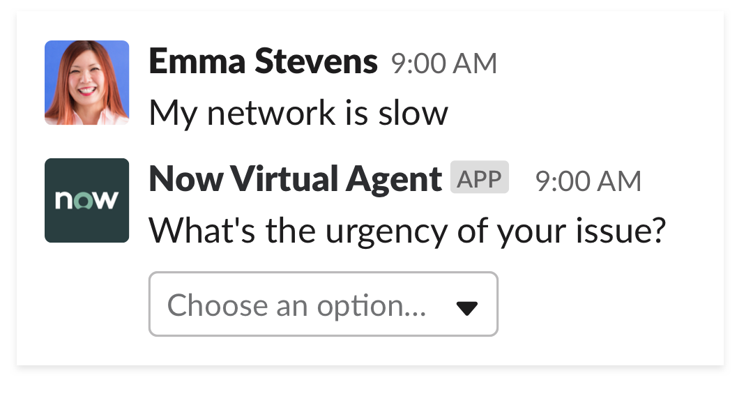 ServiceNow Virtual Agent responding to employee