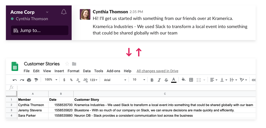 Create a new row in Google Sheets from a Slack message