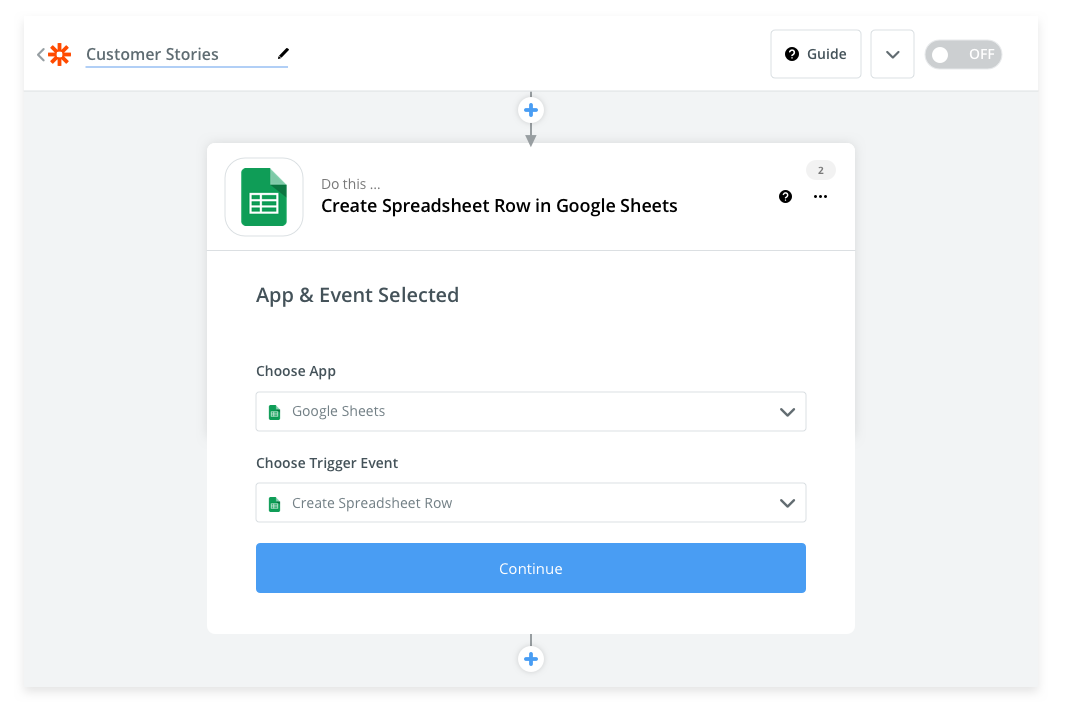 Selecting Google Sheets create row action in Zapier