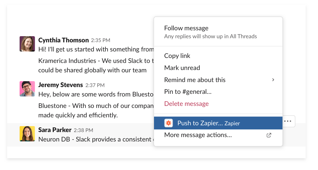 Using a message action to push the message to Google Sheets using Zapier