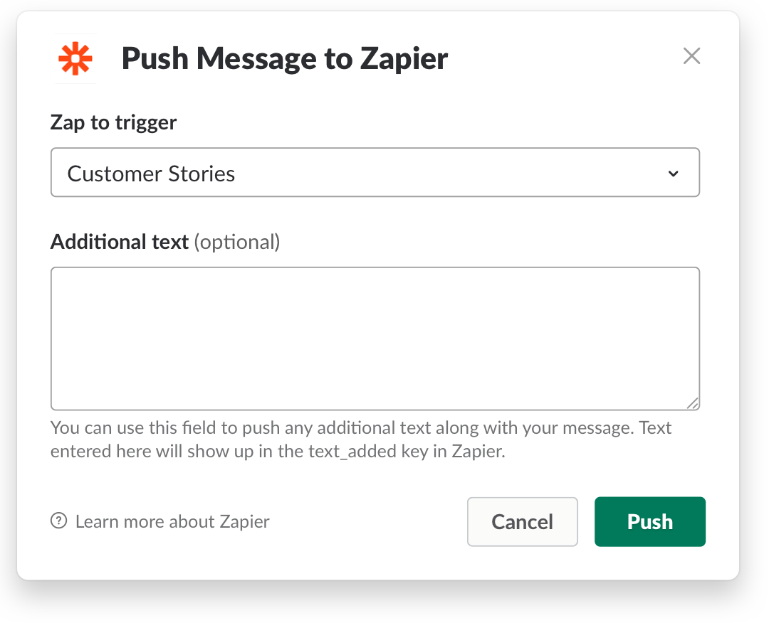 Choose the Zap you'd like to launch from within Slack