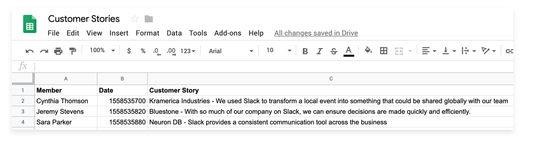 Slack message is stored in Google Sheets as a new form