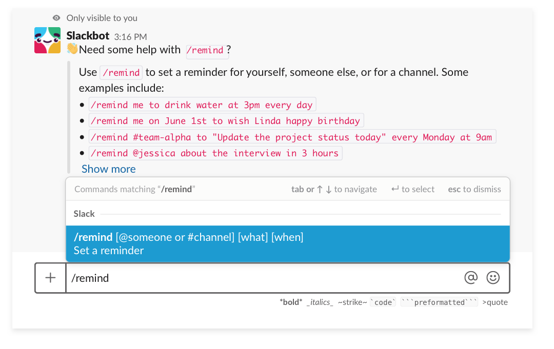 Setting a reminder in Slack