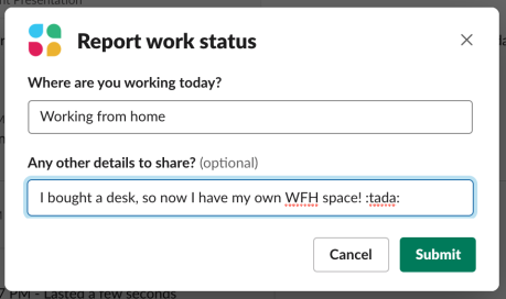 Report work status form