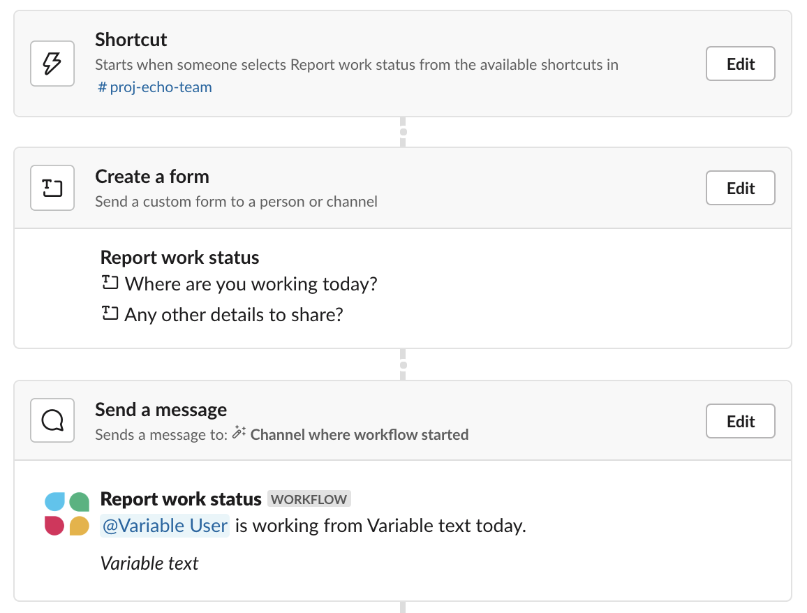 Shortcut trigger, form, and message configuration