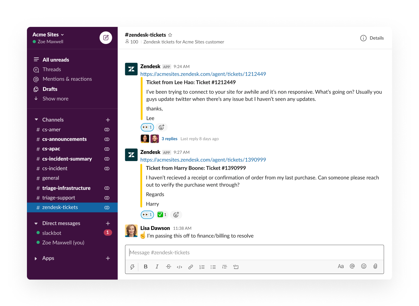 reply in slack to zendesk tickets