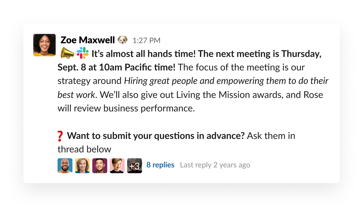 slack message about the company all hands date and time