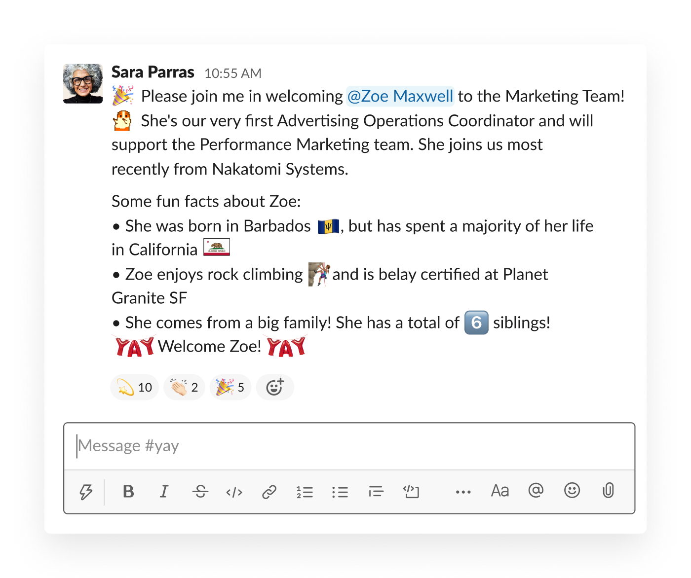 Welcome New Employees Letter from slackhq.com