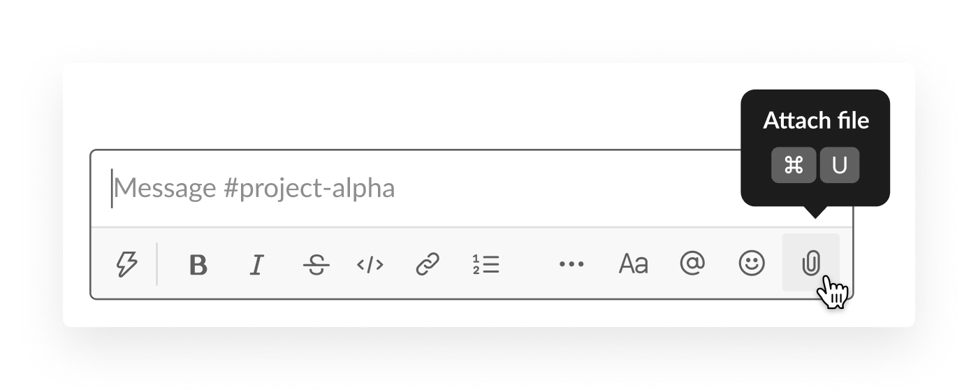 message box in slack with the icon to attach files highlighted