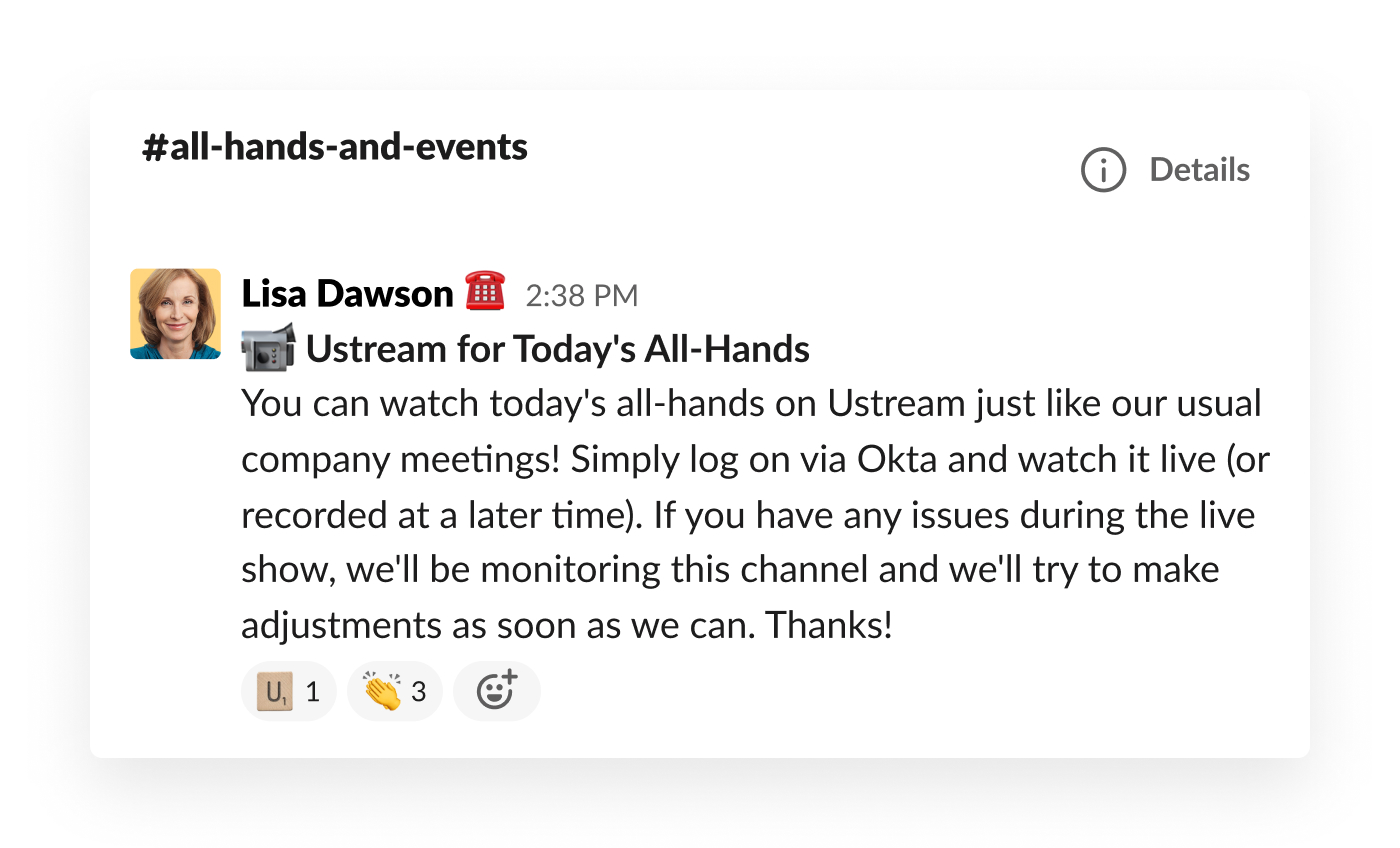 slack message about information for how to watch company's all hands presentation