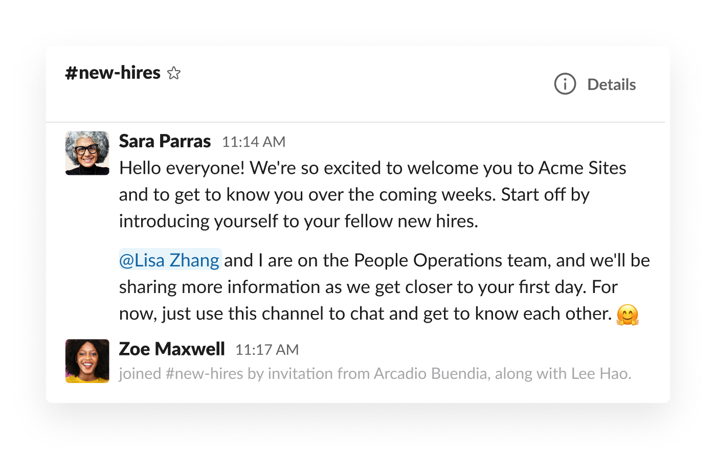manager introducing new hire in slack channel