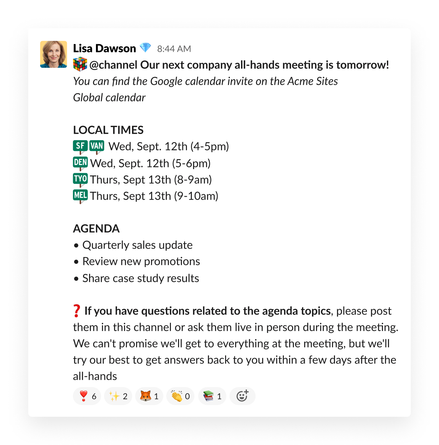 slack post with text about company all hands meeting schedule