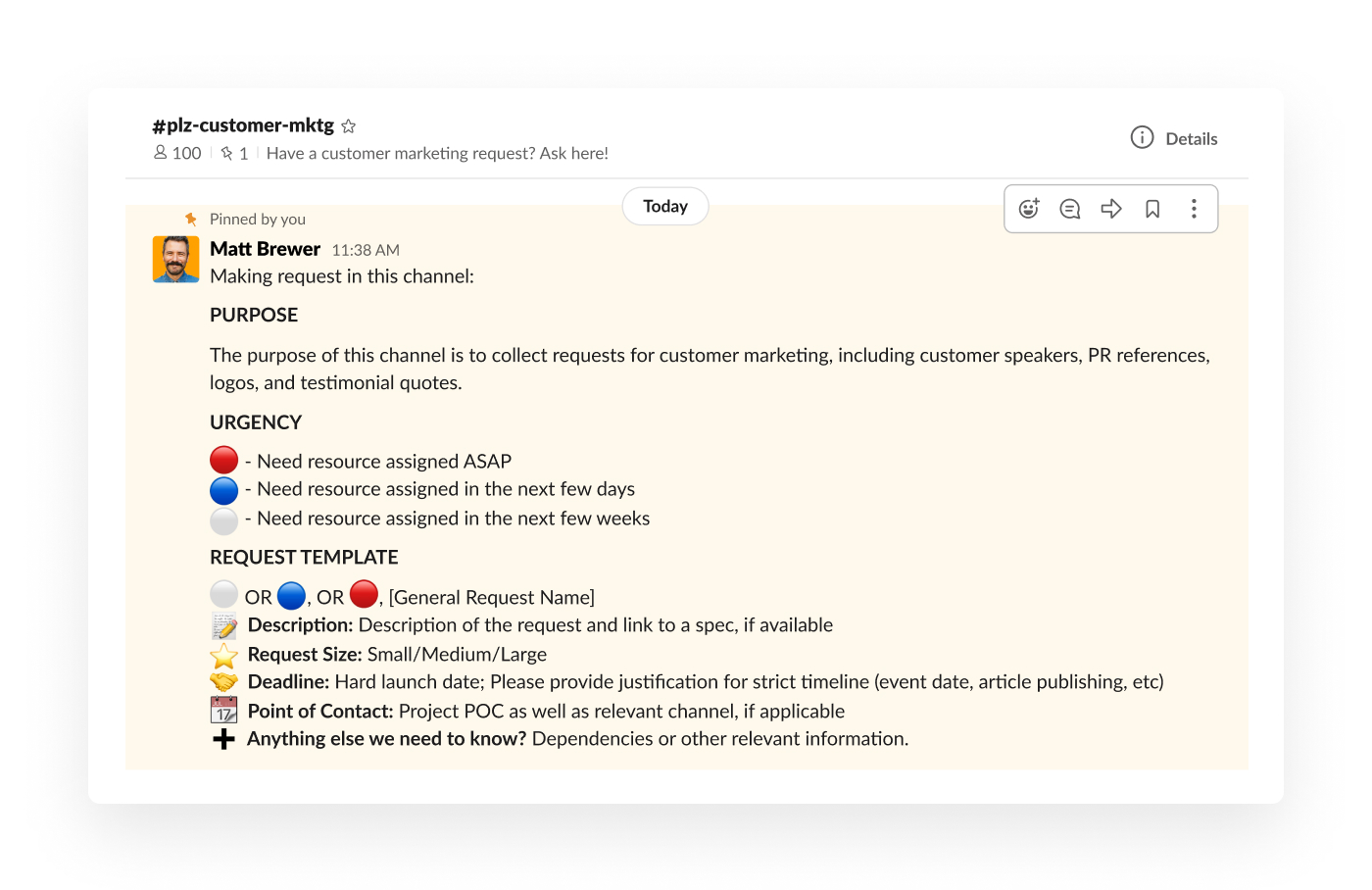 a pinned message in slack