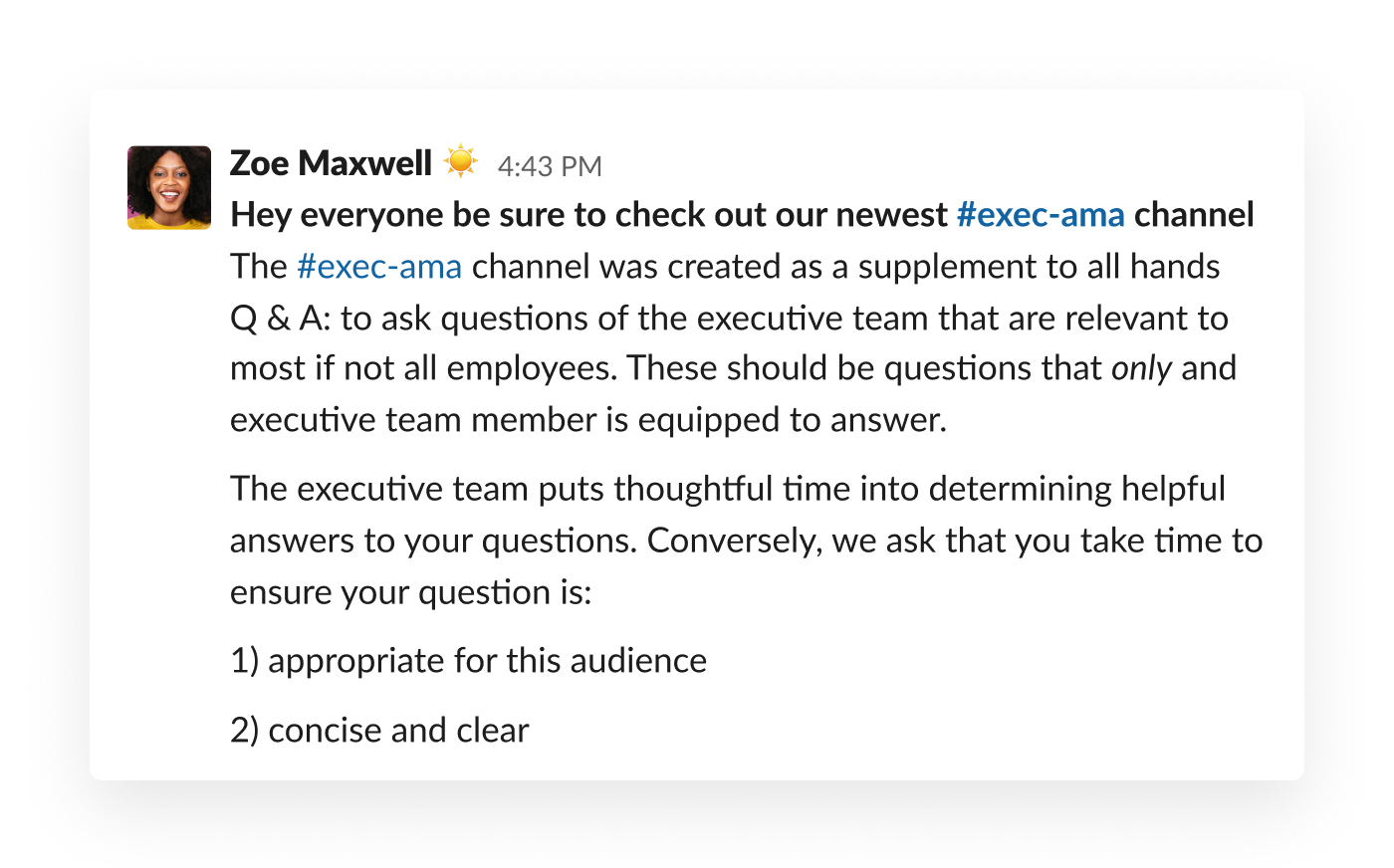 slack post about executive ask me anything channel