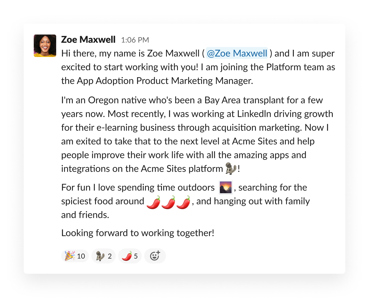 new teammate introduction in slack
