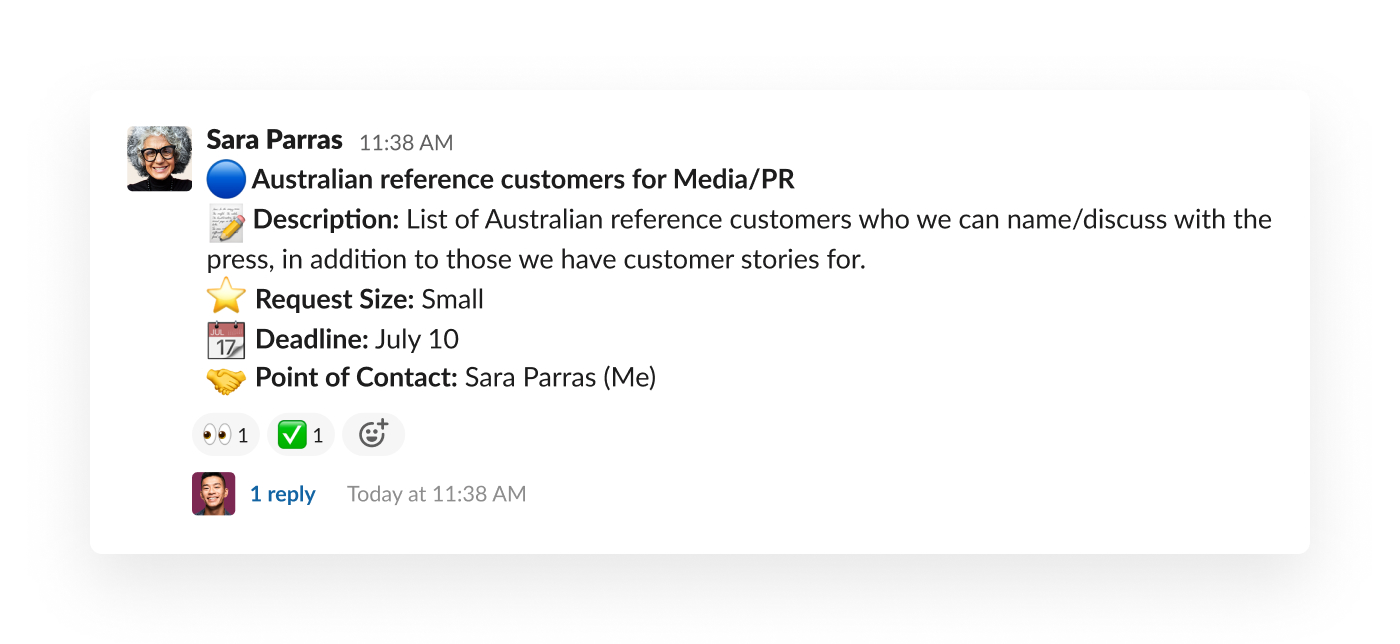slack message including a media request from a teammate