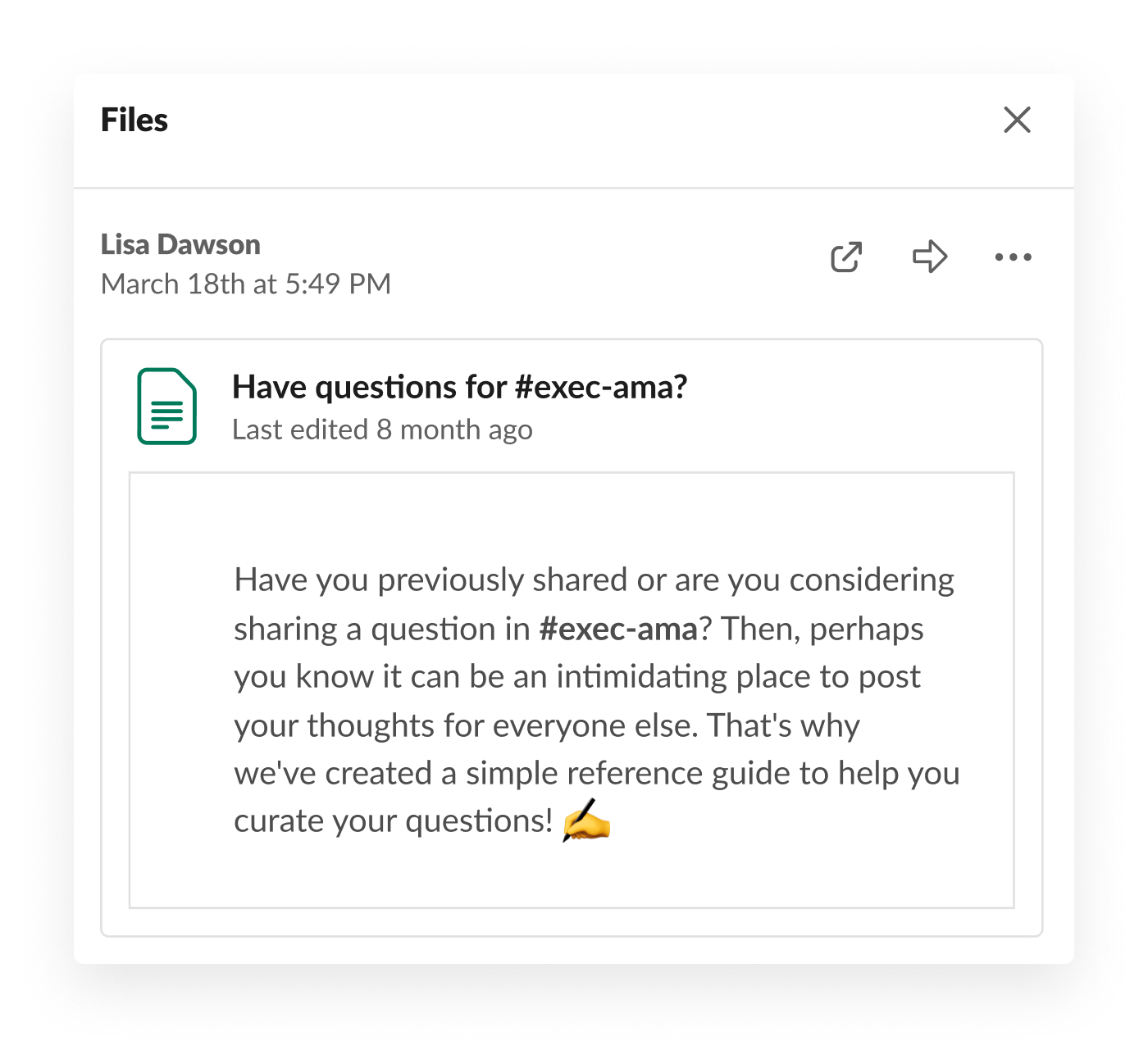 slack post asking for questions for executive ask me anything meeting