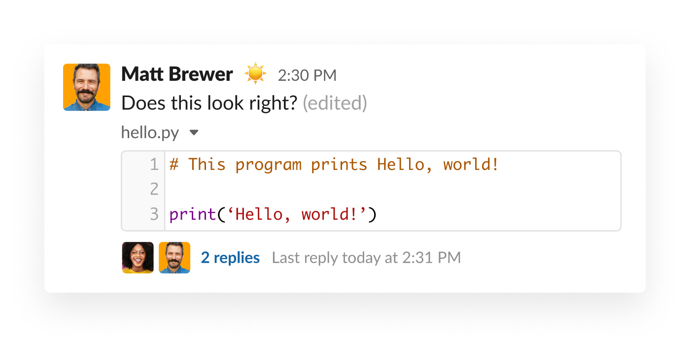 slack message including a code snippet