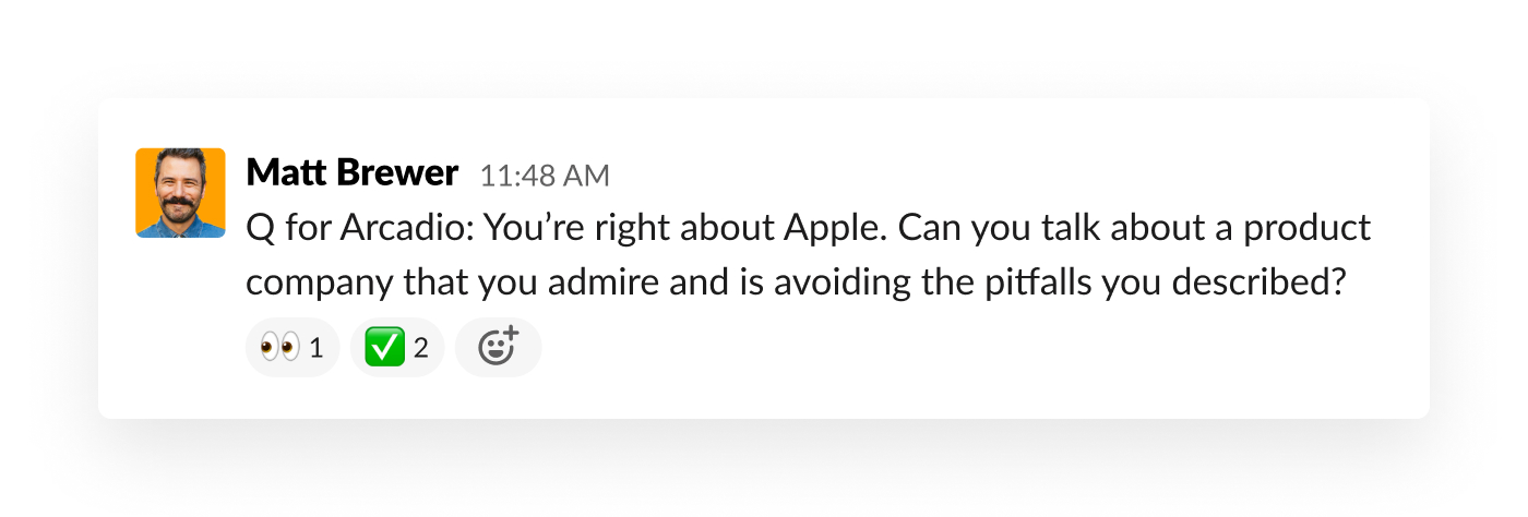 slack message asking a customer a question about a presentation