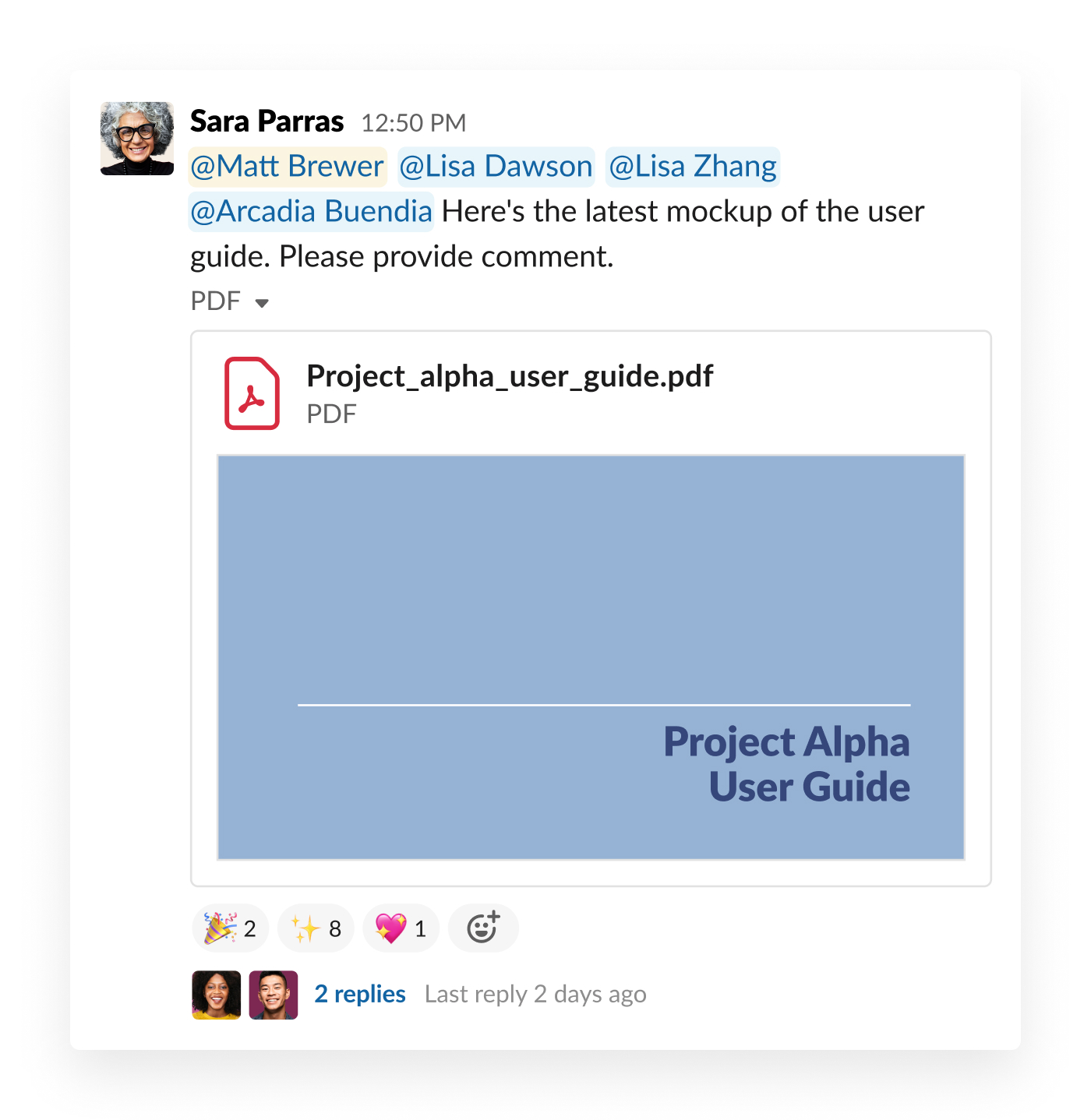 sharing a document in slack to teammates