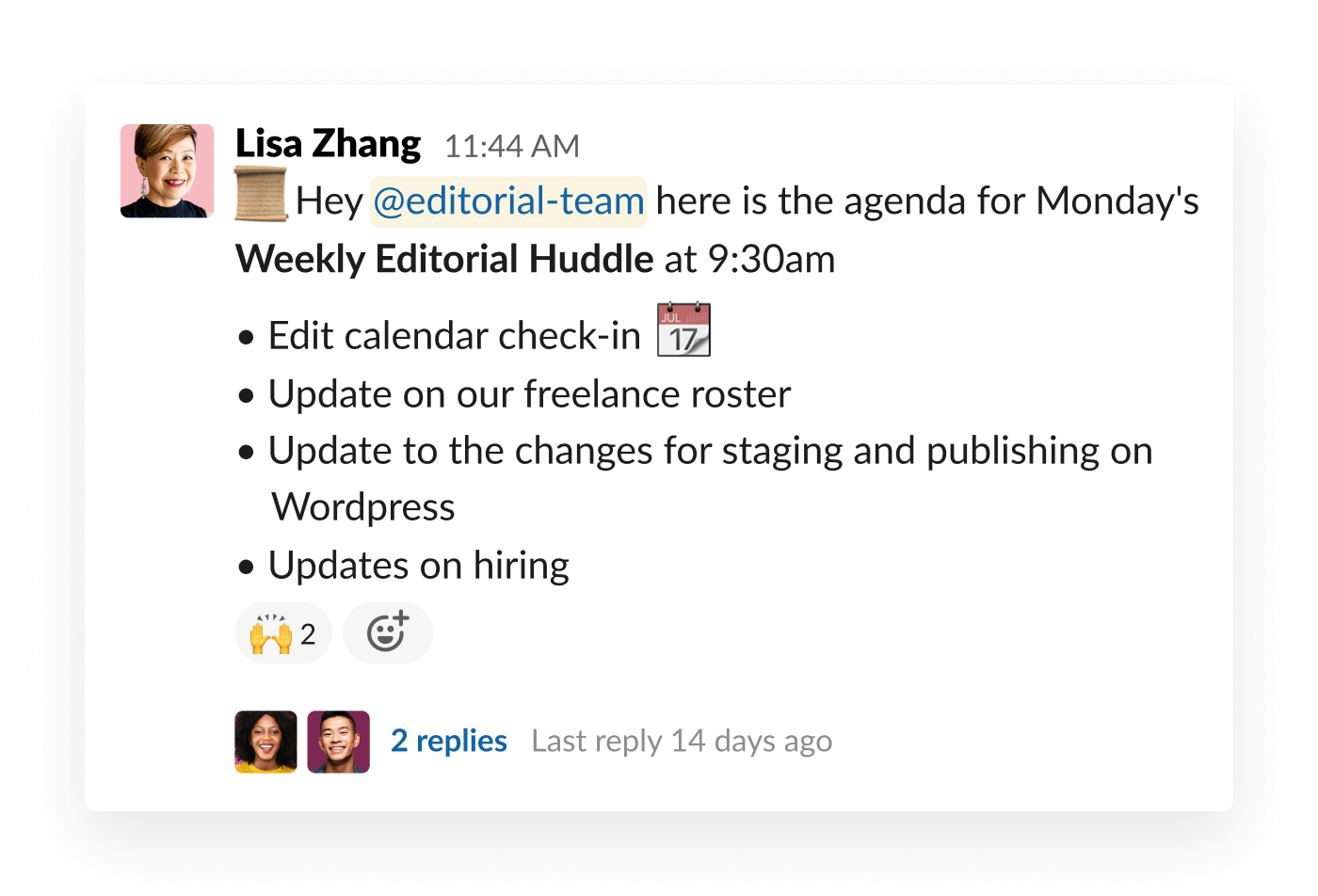 slack post about meeting agenda with teammate feedback in thread
