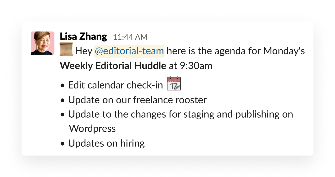 slack post about meetings agenda