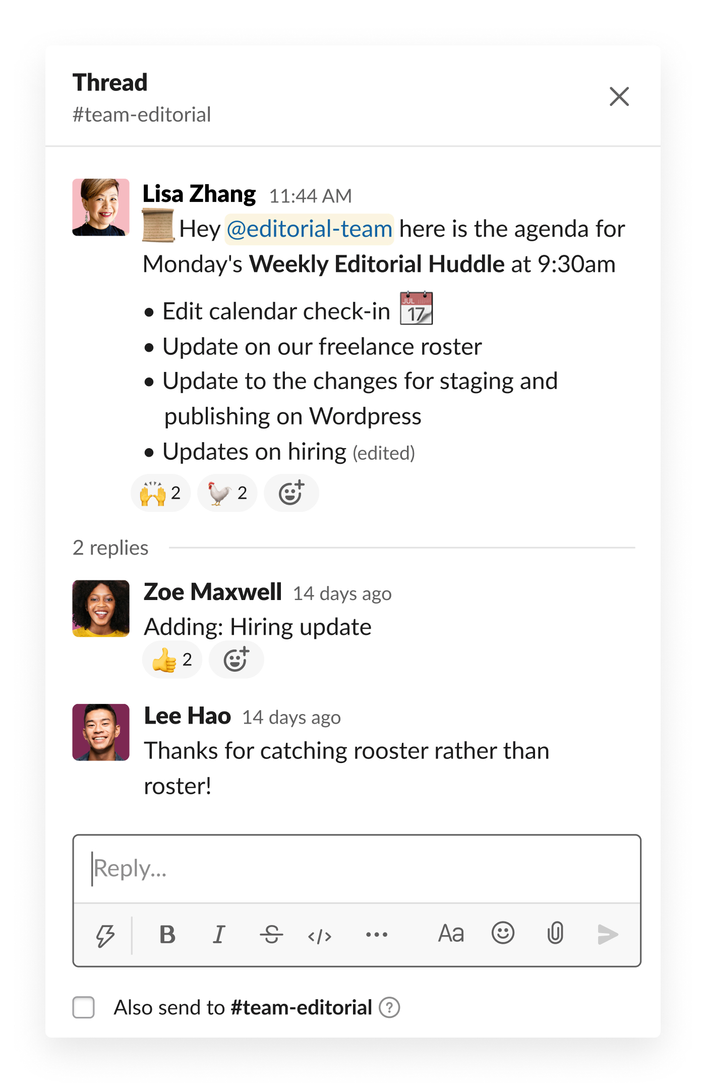 slack message covering agenda for meeting with teammate feedback