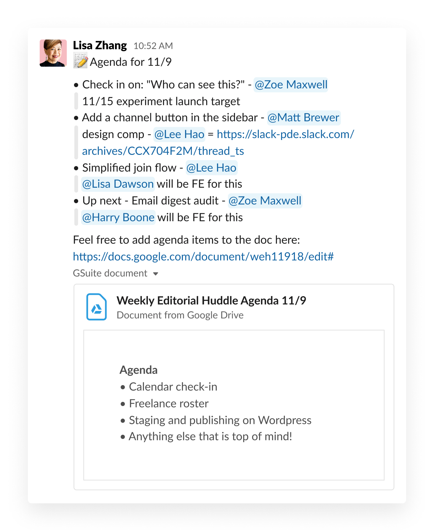 slack post about agenda for upcoming meeting
