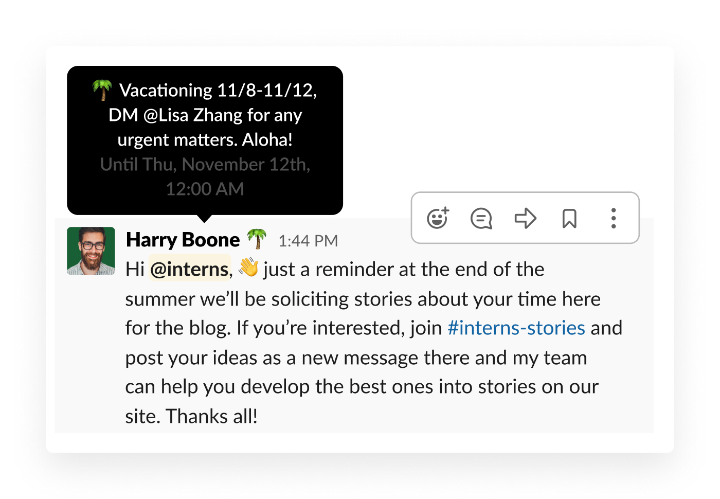 hover over slack colleagues profile with out of office status