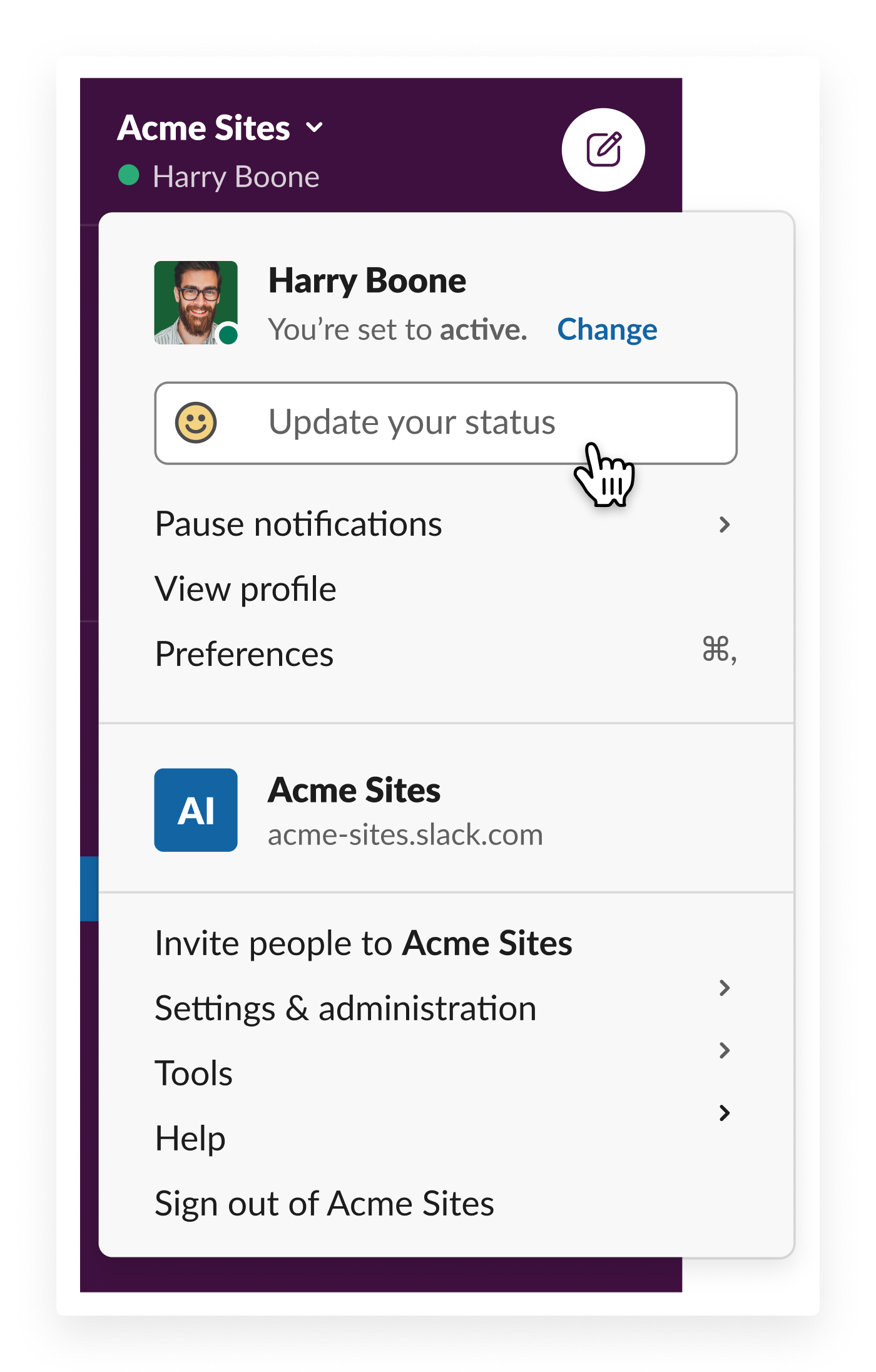 update your status in slack