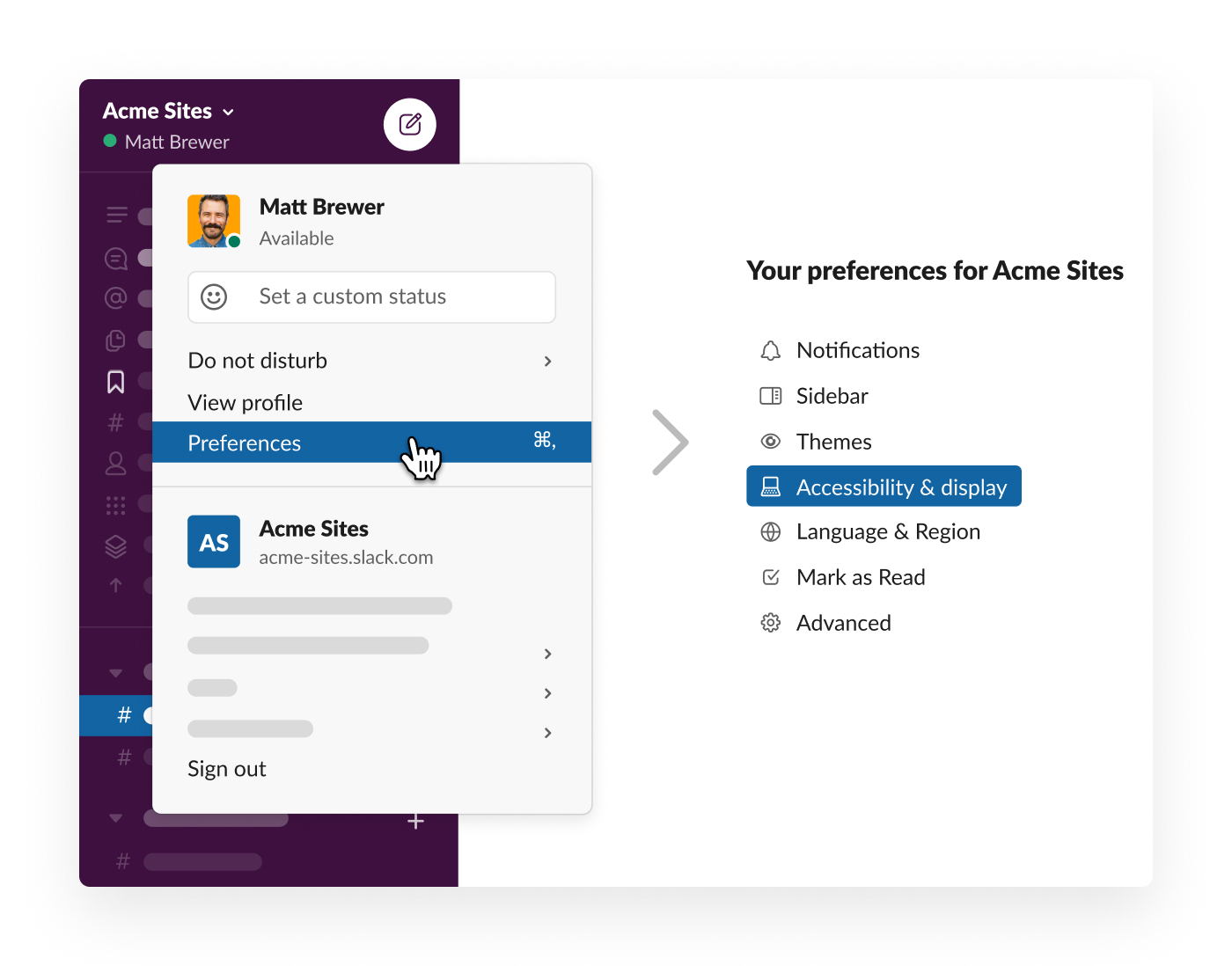 slack preferences for accessibility and display