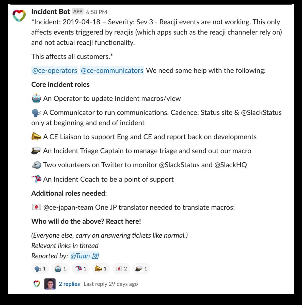 Slack CE Incident Bot